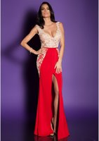 beaded floral patterns - Custom Made Sexy V Neck High Split Red Mermaid Evening Dresses EVENING DRESS Floral Pattern LUXURY BIEN SAVVY I LOVE ME COLLECTIOP_