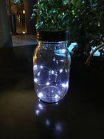 Cheap 20 pcs lot Free shipping Wholesales-New metal LED Mason Jar unique walkway Solar LED lid lights black lids white light