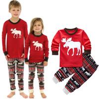 baby boy nightwear - Fashion New Christmas Reindeer Baby Girl Boy Clothing Set O neck Long Sleeve Red Cartoon Tops Elastic Pants Nightwear T
