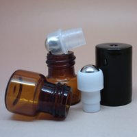 Wholesale 1ml glass tube amber roll on Perfume bottle ml Stainless steel beads roll on Glass bottles by DHL