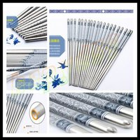 Wholesale home kitchen dinnerware non slip stainless steel chopsticks blue and white porcelain Chinese Chopsticks Kitchen Rrestaurant chopsticks