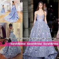 art deco powder - 2016 Zuhair Murad Powder Dusty Blue Sheer Bodice Princess Prom Party Pageant Dresses Sweetheart Ball Gown Puffy Arabic Occasion Evening Gown