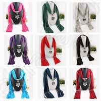 Wholesale color LJJK152 Bohemian Pendant Solid Polyester Tassel Scarves small movable leaf shape beads scarf warp shawl Necklace Scarves