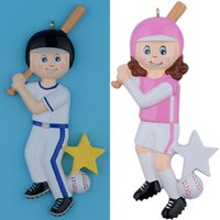 Wholesale RMaxora Resin Glossy Children Baseball Boy Christmas Ornaments Personalized Gifts Used For Holiday and Home Decor
