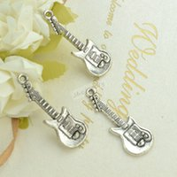 music charm pendant - guitar charms vintage silver plated zinc alloy pendants for diy jewelry findings mm