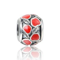 Wholesale Red apple rhinestone silver charms fits for european pandora style charms bracelets LW566D171BH6