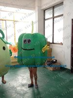 bell pepper chili - Likable Green Green Bell Pepper Hot Pepper Chili Chilli Mascot Costume Cartoon Character Mascotte Adult Yellow Hands NO FS