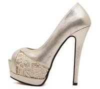 Sexy dentelle d'or rouge unique chaussures de demoiselle d'honneur chaussures de mariage chaussures de bal noir talons hauts taille 35 à 39
