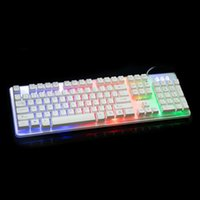 Wholesale Computer lol dota backlight LED keyboards for laptop PC Phelps FV Q3A colorful glowing crystal game suspension home office keyboard DHL
