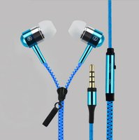 bass black metal - 3 mm In Ear Metal Bass Zipper Earphones Headphones Sports Music Wired Earbud Headset With Microphone For iphone Samsung