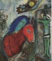 САМОПОРТРЕТ С НАСТЕННЫМ ЧАСОМ, 1947 by MARC CHAGALL, Картина маслом для портретов высокого качества, неподдельная Handnainted на размере Canvas подгонянным