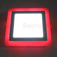 Wholesale Ultra Slim Embeded Square RGB LED Panel Light W W W W Dual Color Blue And Cool White LED Panel Downlight Lamp