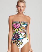 Wholesale 2016 New Arrival Women Bandeau Swimsuit Floral Flower Print Swimsuit Brazilian Padded One Piece Biquinis Bathing Suit