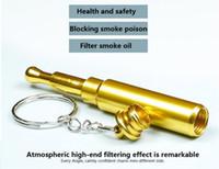 aluminium pipe bends - Gold Bullet Metal filter Key Chain Smoking Pipe Head Gun Pistol Bullet Shape Cigarette Pipe mm aluminium material Pipe sale