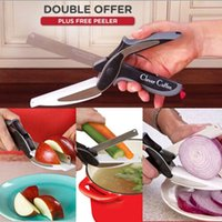 Wholesale 2016 Trendy Clever Cutter in Knife Cutting Board Scissors Steel Kitchen Food Cutter for Meat Vegetable XL G04