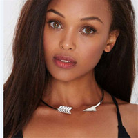 arrow charm necklace - C1317 European Charms K Gold Plated Alloy Arrow Open Choker Necklaces High Quality Jewelry Best Sellers Metal Collar Necklace