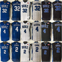 Wholesale Duke Blue Devils JJ Redick Quinn Cook Christian Laettner College Stitched Jerseys New Style Embroidery Logos
