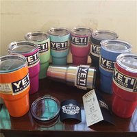 Wholesale 2016 Colorful yeti Tumbler Rambler Cups cooler cup oz Powder Coated Mugs Large Capacity Stainless Steel Tumbler Mug color