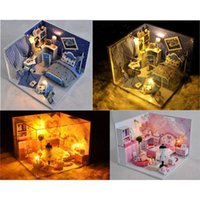 Wholesale DIY Kids Miniature Music and LED Doll House Toy Wooden House With Furnitures Model Kit Style Option