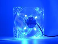al por mayor ventiladores 12v pc-Ventilador de la computadora de la PC 80m m con 4ea llevó 8025 8cm silencioso DC 12V LED chasis luminoso molex 4D ventilador axial del enchufe