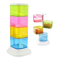 Wholesale 4 Layer Colorful Degree Rotating Creative Blends Flavors the Box Seasoning Rack