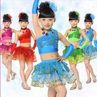 Wholesale Child oblique split Latin dance skirt girl s modern paillette dance stage performance costume set with necklace and gloves JQ