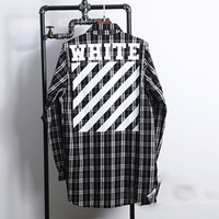 Wholesale 2016 Off White Virgil Abloh plaid flannel street wear casual Long sleeve cotton Check Shirts
