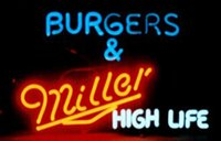 bars hot dogs - Miller HIGH LIFE Burgers Neon Sign Custom Handmade Real Glass Store Beer Bar KTV Club Pub Hot Dog Pizza Display Neon quot X14 quot
