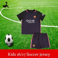 Wholesale Kids Soccer Jerseys Sets youth boys child kits BARCELONAIZERS shirts Soccer MESSI NEYMAR JR SUAREZ PIQUE HOME Custom shirt