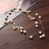 american pearl sweater - Fashion pearl necklace multi layered long double C sweater chain necklaces double C pearl women necklaces Lobster clasp necklaces