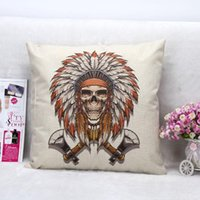 ax case - Vintage Printed Pillow Case Halloween Skull AX Cushion Cotton Linen Cover Square X45CM