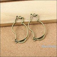 antique japanese jewelry - 8pcs Antique bronze Japanese pop hollow out the cat Pendant Alloy DIY Fashion charm Bracelet Necklace Jewelry Accessories