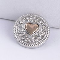 Wholesale Noosa Snap Button MM Heart Rhinestone Ginger Snap Chunk Charm Button Interchangtable Diy Jewelry Noosa Button For Noosa Bracelet