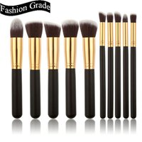 Wholesale 10 Set Professional Makeup Brushes Set Facial Cosmetic Make up Brush Tools Wool Handle Makeup Brushes Kit