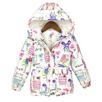 baby parka coat - 2016 New Winter children clothing Graffiti Parkas style warm girls jackets coats T Hooded Baby Girl Outerwear parkas