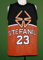 Wholesale 1985 Throwback Stefanel Trieste Michael Jordan Basketball Jersey Retro Orange and Black Basketball Shirt