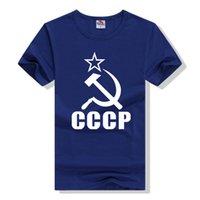 Vente en gros-Eshow Brand Tees Nouveau 2016 Summer Hommes Novetly T-shirts à manches courtes 90% Coton T-shirt Hommes Imprimer Star CCCP Soviet Red Army Flag