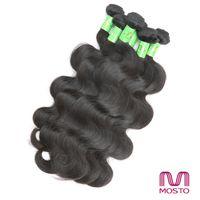 Malaysian Hair hair weave - Brazilian Hair Body Wave and Straight Human Hair Weaves Hair Extensions Human Hair Bundles Natural Color b MOSTO Hair Best Quality