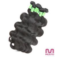 al por mayor pelo de calidad 7a brasileño-El cabello brasileño 7A teje el pelo humano recto de la onda del cuerpo de las extensiones del pelo humano empaqueta el color negro natural teñible MOSTO La mejor calidad