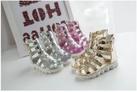 baby girl gold sandals - Girls Sandals kids Hollow Weave Flat Sandal Shoes new High boot Campagus baby New Fashion Gladiator Shoes kids sandals gold silver