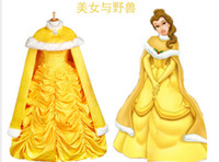 belle cape - New Custom Cartoon Cosplay Fantasia Women Halloween Princess Costume Belle Princess dress with cape