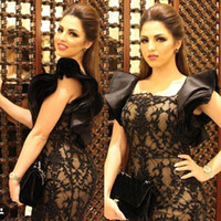 art deco butterflies - Haifa Wehbe Black Lace Sheath Split Evening Dresses with Square Neck Butterfly Ruffles Back Sexy Prom Gowns