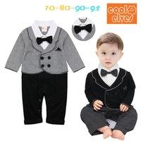 Wholesale 4Pcs Per Winter Faux Two Pieces Kids Clothing Baby Boy Romper Gentlemen Bow Tie Patchwork Long Sleeves Jumpsuits