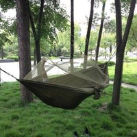 Wholesale Hot New Summer Army Green Travel Outdoor Camping Jungle Adjustable Hammock Hanging Tent Sleeping Bed with Sack