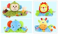 Wholesale Infant Baby Appease Towel Toys Cute Cartoon lion monkey elephant giraffe Calm Doll Teether Developmental Kids Toy