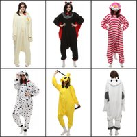 adult fleece pajamas - Polar fleece pajamas Animal Suits Cosplay Outfit Halloween Costume Adult Garment Cartoon Jumpsuits Unisex Animal Sleepwear bat cheap