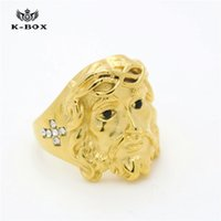 Wholesale 24K Gold Plated Ice Out CZ D Christ Cross Jesus Piece Ring Mens Fashion Chunky Finger Bling Hip Hop Ring Size