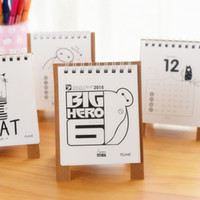 Wholesale Mini table calendar Cute cat baymax desk calendars agenda planner calendario Stationery Office School Supplies