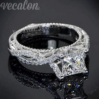 antique diamond rings - Vecalon Romantic Antique Female ring ct Simulated diamond Cz Sterling Silver Engagement wedding Band ring for women