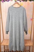 angora sweater dress - 2016 Spring new Korean winter o neck long pullover fluffy angora rabbit fur sweater dress angora dress
